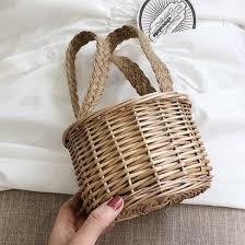 <b>Rattan</b> Mini Bucket <b>Bag Handmade</b> Hand <b>Bag</b> For <b>Women</b> B26033 ...