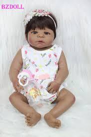 <b>55cm Full Body Silicone</b> Reborn Baby Doll Toy 22inch Black Skin ...