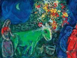 Marc Chagall: 'L'ane vert', oil painting on canvas