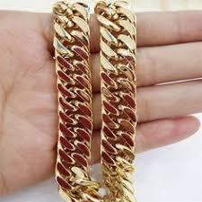 <b>55cm 11mm Gold</b> Huge & Heavy Long Stainless Steel Byzantine ...