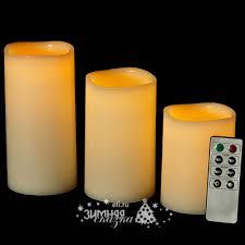 <b>Набор</b> восковых <b>светильников</b> свечей Восторг <b>3</b> шт с пультом, на ...