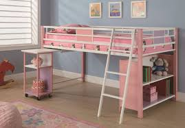 pink bunk beds with desks bunk bed office space