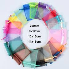 <b>100pcs</b>/<b>lot 7x9</b>, <b>9x12</b>, <b>10x15</b>, 11x16cm Colorful Drawstring Organza ...