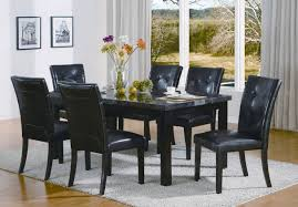 Tufted Leather Dining Room Chairs Black Tufted Leather Dining Chair Rectangular Black Dining Table