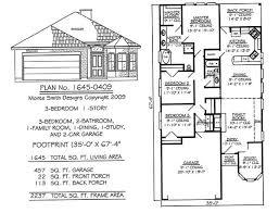 Narrow Story Floor Plans   Under feet wide Story  Bedroom  Bathroom  Dining room  Family Room  Study Car Garage   SQ Feet House Plan