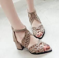 <b>Women</b> Leather <b>Fish Mouth</b> Open Toe <b>Sandals</b> Hollow Square Heel ...