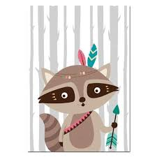 Tribal <b>Cartoon Animal Canvas Prints</b> in 2019   Nursery <b>canvas</b> art ...