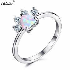<b>Blaike 925 Sterling Silver</b> Filled White/Blue/Purple Fire Heart Opal ...