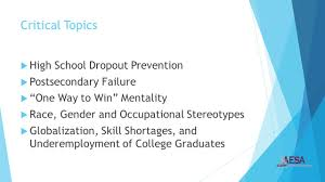 for this generation career maturity is as important as academic 3 critical topics  high school dropout prevention  postsecondary