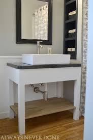 open bathroom vanity cabinet: bergers always never done diy bathroom vanity and undersink shelf