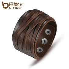 BAMOER <b>Black</b> & Brown <b>Genuine Leather Bracelet</b> With Alloy ...