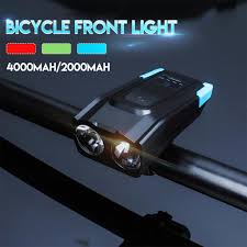 LED Headlight 4000Mah <b>Induction Bicycle Front</b> Light Set USB ...