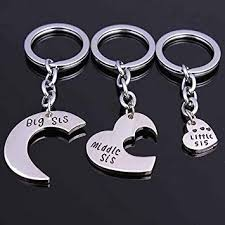 Key Chain Opeof 3Pcs/Set <b>Big Middle Little Sis</b> Heart Pendant ...