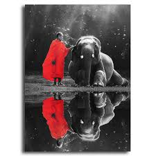 Black and white zen Elephant and buddha Oil Painting on Canvas ...