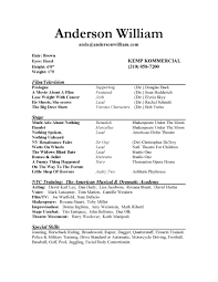 resume template  actors resume template word actors resume        resume template  anderson william resume template word sample with prologue film experience  actors resume