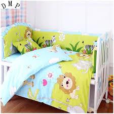 Promotion 7pcs Lion bedding set 100 cotton curtain crib bumper ...