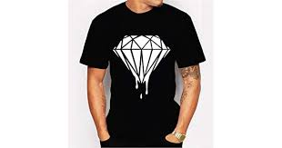 Tshirt <b>Simple</b> White <b>Diamond Print</b> Black Short Sleeve Men's Trend ...