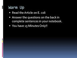 Read  Complete Assignments  Warm Up     Read the Article on E  coli     SlidePlayer