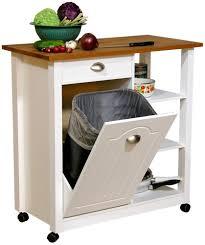 kitchen island mobile: mobile kitchen island trash bin w  shelf pantry
