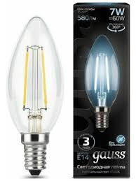 «<b>Лампочка Gauss</b> LED Filament Candle E14 7W 4100К 103801207 ...