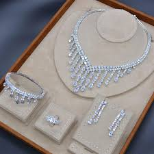 Luxury <b>Long Tassel</b> Drop American Diamond Bridal Jewelry Cubic ...