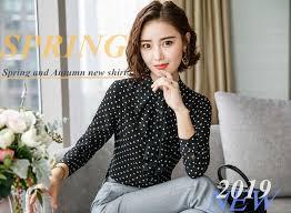 <b>Dushicolorful</b> polka dots blouse Women Casual Loose Chiffon long ...