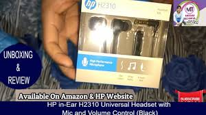 <b>HP</b> in-Ear <b>H2310</b> Universal Headset with Mic and Volume Control ...