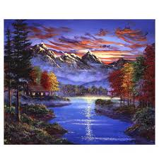 <b>WEEN</b> Sunset Lake <b>DIY</b> painting by numbers,<b>Beach</b> wall art picture ...
