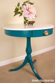 distressed pedestal table chairs noteworthyhome turquoise table painted quotlagoonquot by rustoleum with white top