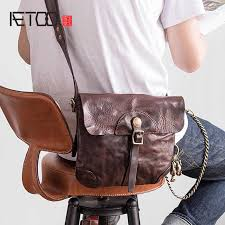<b>AETOO Handmade</b> men's oblique bag with Baotou cowhide fold ...
