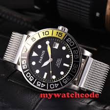 <b>42mm Parnis black dial</b> Sapphire glass date Miyota 8215 Automatic ...