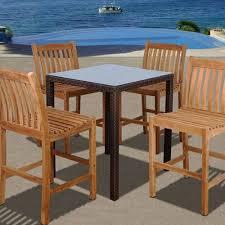 wicker bar height dining table:  century  piece wicker teak patio bar height dining set table  chairs