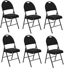 Fanilife <b>Folding</b> Chairs Set of <b>6</b> Metal <b>Folding Dining Chairs</b> With ...