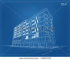 abstract 3d render of building wireframe vector schematic design of architecture with blueprint background abstract 3d office building