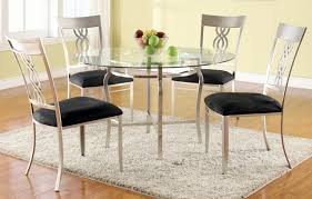 pottery barn style dining table: dining room round glass top dining set with italian estilo y beige rug y black cpelo