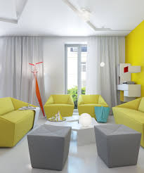 living room ideas grey small interior:  marvelous yellow nuance apartment living room decorating design ideas with yellow leather sofa and grey velvet
