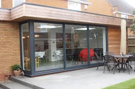 large sliding patio doors: smarts systems visoglide aluminium three pane patio door