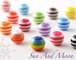 150 6mm Striped Beads - A Colorful Mix of Resin <b>Acrylic Beads</b>