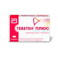 <b>Теветен плюс</b> тб <b>п/о 600мг</b>/12,5мг N 28 купить в Павлоградка ...