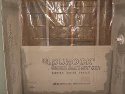 tile board bathroom home:  cement board with plastic vapor barrier