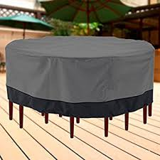 neh outdoor patio furniture table and chairs cover 94quot diameter dark grey with black hem amazon patio furniture covers