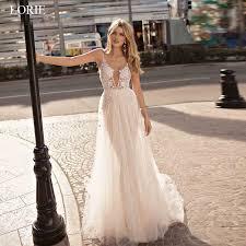 <b>LORIE Boho</b> Wedding Dresses Appliqued with Lace V Neck <b>Beach</b> ...