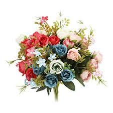 N&T NIETING <b>5 Branch</b> 10 Heads Aritificial Fake Flowers Silk <b>Mini</b> ...
