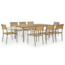 【USA Warehouse】<b>9 Piece</b> Outdoor Dining Set <b>Solid Acacia</b> Wood ...