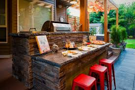 patio outdoor stone kitchen bar: kitchen bar stone patio contemporary with integrated grill