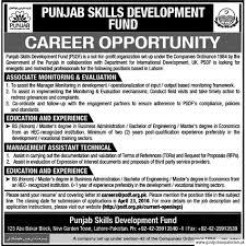 punjab skills development fund psdf job associate monitoring punjab skills development fund psdf job associate monitoring evaluation management assistant technical