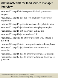 top  food service manager resume samples       useful materials for food service manager