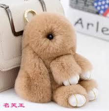 <b>15cm</b> Fluffy <b>Bunny Keychain</b> Rex Real <b>Rabbit Fur</b> PomPom Pom ...