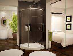 bathroom ideas corner shower design: corner shower  outstanding bathtub shower designs with corner glass shower enclosure shower combined white acrylic base frames also rounded bath mat and laminate timber flooring featuring freestanding wash basin und