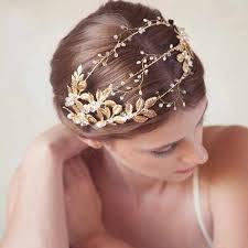 Handmade Ribbon Gold Leaves Pearl <b>Headband</b> Crystal Hair ...